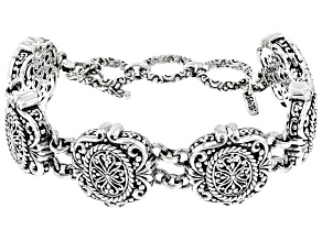 Sterling Silver Filigree Station Bracelet