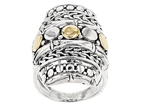 Sterling Silver And 18kt Gold Accent Ring