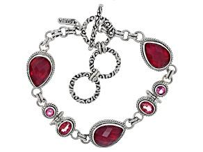 Red Fuchsia Quartz Doublet Silver Bracelet 2.18ctw