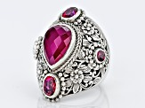 Red Fuchsia Quartz Doublet Silver Ring 2.18ctw