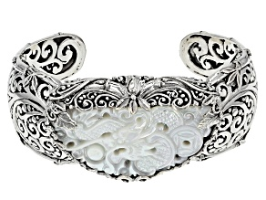 White Mother Of Pearl Silver Dragon Cuff Bracelet