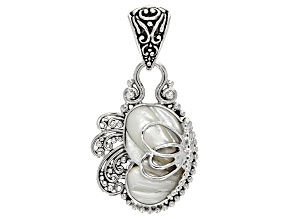White Mother Of Pearl Silver Butterfly Pendant