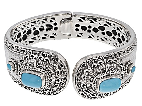 Turquoise Blue Silver Cuff Bracelet