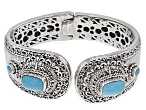 Turquoise Blue Silver Cuff Bracelet