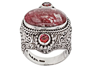Pink Thulite Silver Ring .88ctw