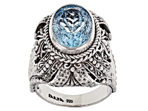 Blue Topaz Silver Ring 5.87ct