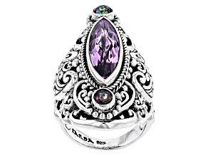 Purple Amethyst Silver Ring 4.70ctw
