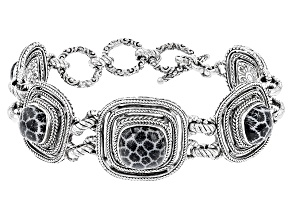 Black Indonesian Coral Silver Bracelet
