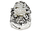 White Mother Of Pearl Silver Turtle Ring