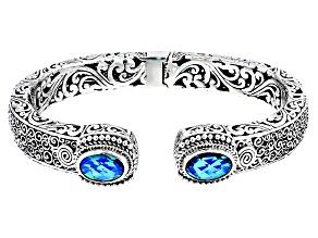 Rainbow Paraiba Color Quartz Triplet Silver Bracelet