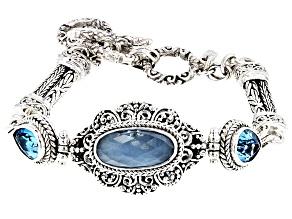 Blue Aquamarine Silver Bracelet 4.26ctw