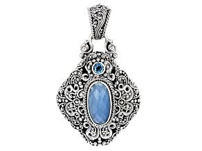 Blue Aquamarine Silver Pendant .31ctw