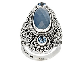 Blue Aquamarine Silver Ring .62ctw