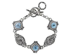 Blue Topaz Silver Bracelet 13.77ctw