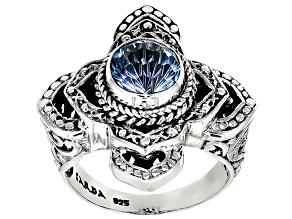 Blue Topaz Silver Ring 4.59ctw