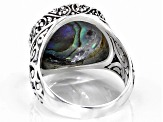 Multicolor Paua Shell Silver Ring