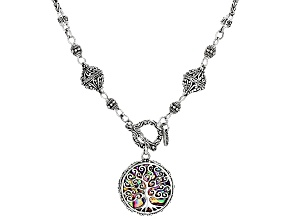 Multicolor Paua Shell Silver Necklace