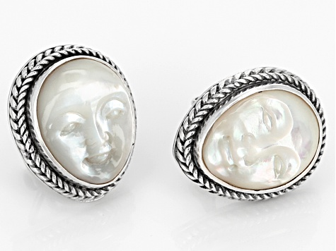 White Mother Of Pearl Silver Earrings