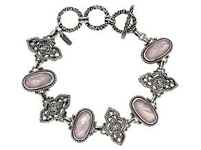 Pink Peruvian Opal Triplet Silver Bracelet