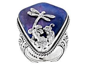 Multicolor Tye Dye Jasper Silver Dragonfly Ring