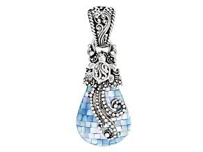 Aqua Color Mother Of Pearl Silver Pendant