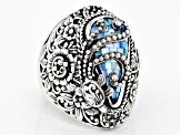 Aqua Color Mother Of Pearl Silver Turtle Ring