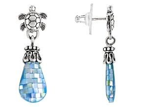 Aqua Color Mother Of Pearl Silver Turtle Earrings