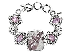 Pink Tourmaline Triplet Silver Bracelet