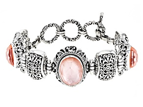 Pink Morganite Color Mother Of Pearl Triplet Silver Bracelet