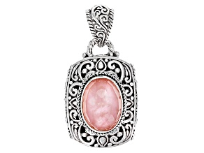 Pink Morganite Color Mother Of Pearl Triplet Silver Pendant