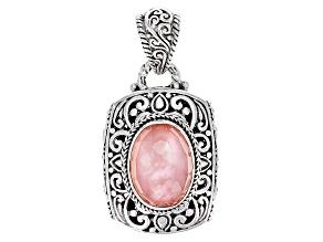 Pink Morganite Color Mother Of Pearl Triplet Silver Pendant