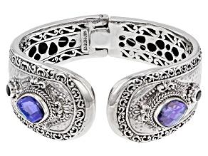 Rainbow Tanzanite Blue Quartz Triplet Silver Bracelet .62ctw
