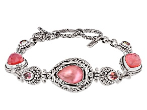 Peach Mother Of Pearl Triplet Silver Bracelet 1.72ctw