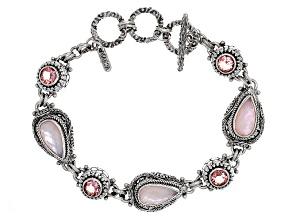 Pink Opal Triplet Silver Bracelet 2.96ctw