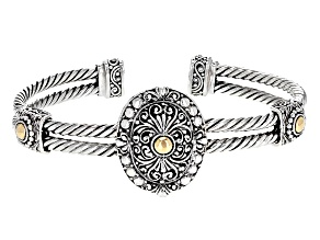 Sterling Silver With 18k Gold Accent Cuff Bracelet