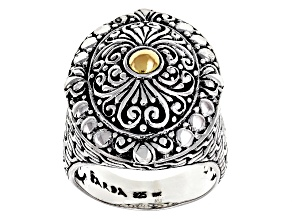 Sterling Silver With 18k Gold Accent Filigree Ring
