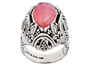 Peach Mother Of Pearl Triplet Silver Ring