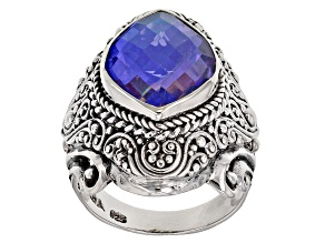 Rainbow Tanzanite Blue Quartz Triplet Silver Ring
