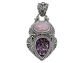Purple Amethyst Silver Pendant 15.96ctw