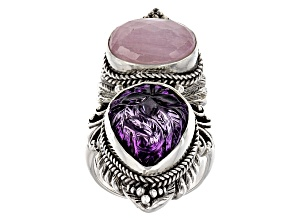 Purple Amethyst Silver Ring 15.96ctw