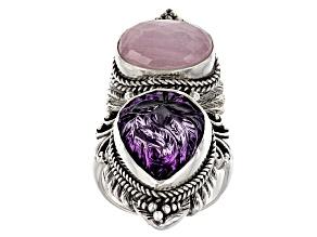 Purple Amethyst Silver Ring 15.96ctw