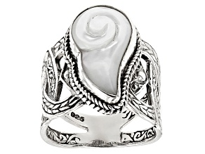 White Mother Of Pearl Silver Ring