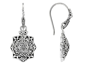 White Diamond Silver Earrings .08ctw