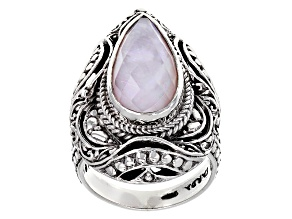 Pink Opal Triplet Silver Ring