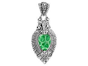 Green Coral Silver Pendant