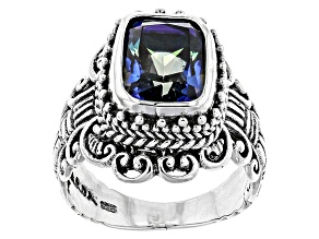 Blue Mystic Quartz® Silver Ring 3.95ctw