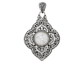 White Cultured Mabe Pearl Reversible Silver Pendant