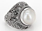 White Cultured Mabe Pearl Silver Ring