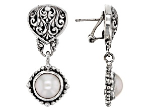 White Cultured Mabe Pearl Silver Earrings