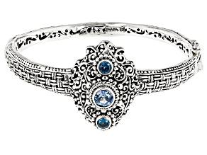Rio Aqua™ Mystic Topaz® Silver Bangle Bracelet 1.15ctw
